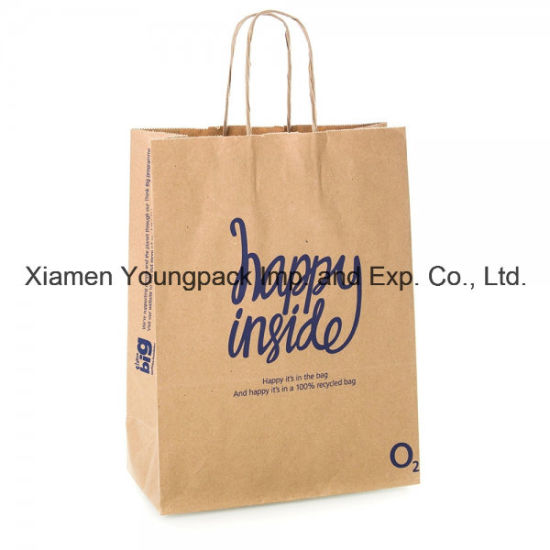 0bbd9cbd29 Custom Printed 100% Recycled Natural Brown Kraft Paper Carrier Bag for  Promotion pictures   photos