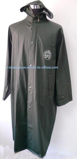 Dark Green Long PU Raincoat with Reflective Strip and Logo