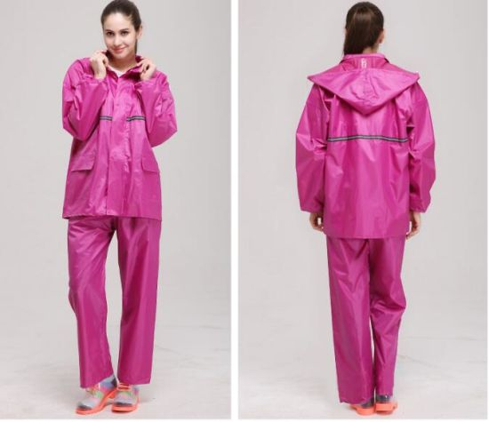 High Visibility Polyester Raincoat 100%Waterproof Breathable Raincoat pictures & photos