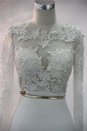 Elegant Long Sleeve Lace Soft Satin Mermaid Evening Bridal Gown Wedding Dresses pictures & photos