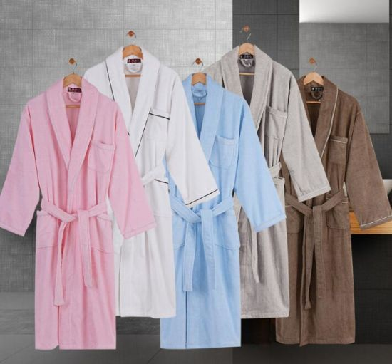 Promotional 100% Cotton Terry Hotel Home Plain Dyed Bathrobe Pajamas Nightwear  pictures c5bed7a03