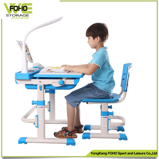 Children Study Desk And Chair Blue Pencil Holder Plastic Kids Homework Table