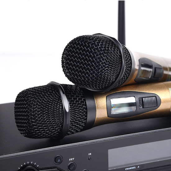 Handheld DC-Two UHF Wireless Microphone System Karaoke Mic pictures & photos