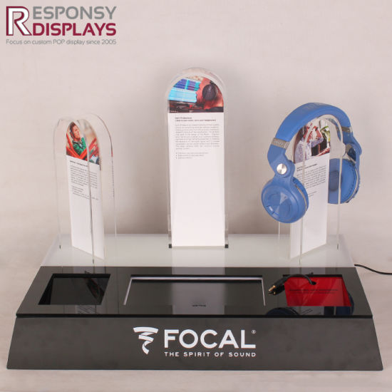 LED Light Metal and Acrylic Headset Display Holder Stand with Logo Screen pictures & photos