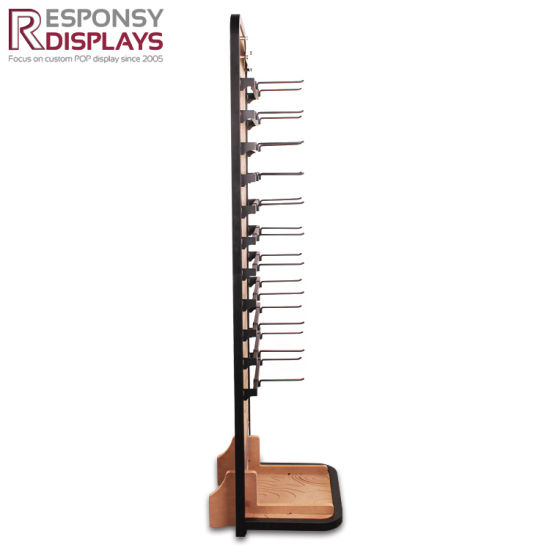 New Design Customized Wood and Metal Floor Display Rack with Hooks for Hanging Accessories pictures & photos