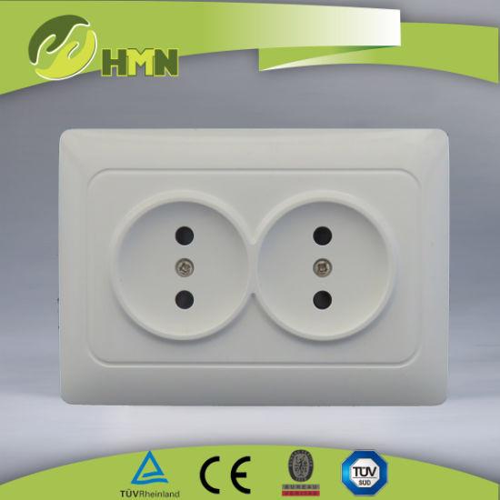 TUV certified EU standard 2 pin socket Russian socket double socket