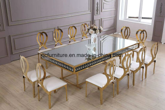 Wedding Decoration Golden Frame Mirror Glass Top 12 Seater Dining Table  With Crystal