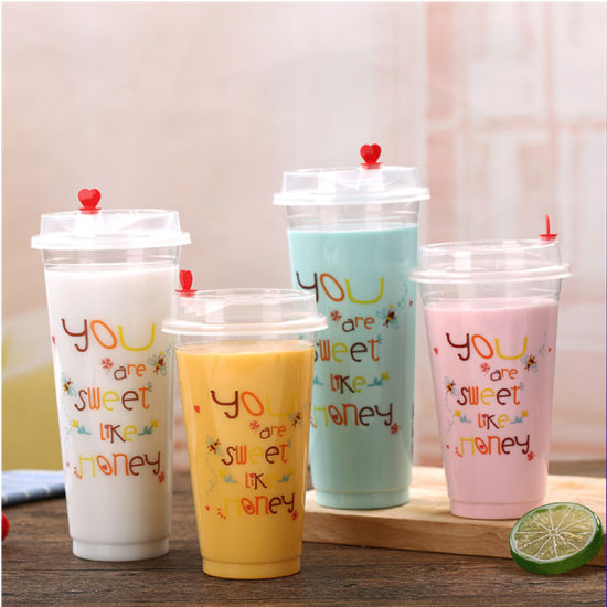 China Disposable Clear Plastic Juice Cup With Flat Dome Lid