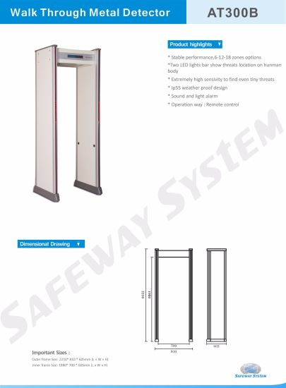 Security Products At300b Pass Through Metal Detector Gate Gold Metal  Detector