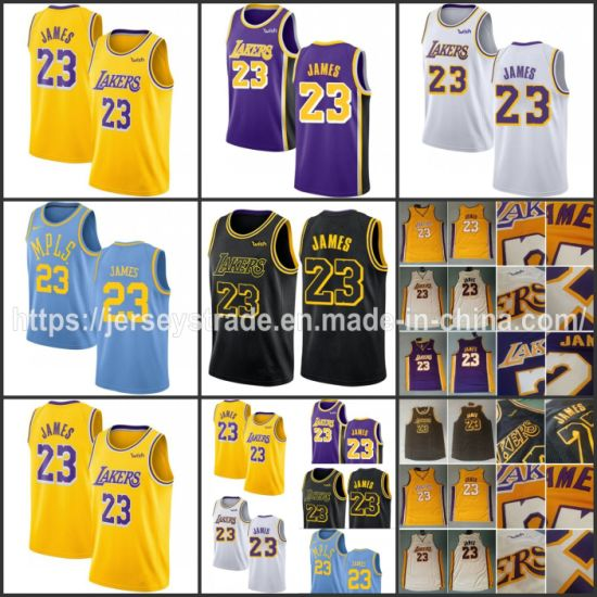 the latest fbee2 76102 [Hot Item] Lebron James Wish Basketball Jerseys Yellow White Purple Black