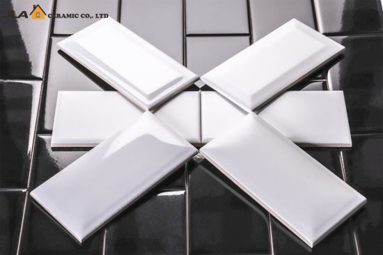 4x8 10x20cm White Glossy Bathroom Wall Covering Glazed Ceramic Tile