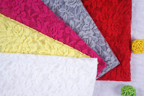 Wholesale Embroidery Elastic Floral Design Polyester Lace Fabric for Garment pictures & photos