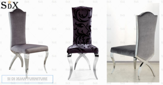 Grey Fabric Stainless Steel Banquet Dining Chair