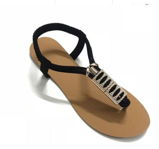 PU Material Lady Flat Heel Lady Sandal Women Shoes