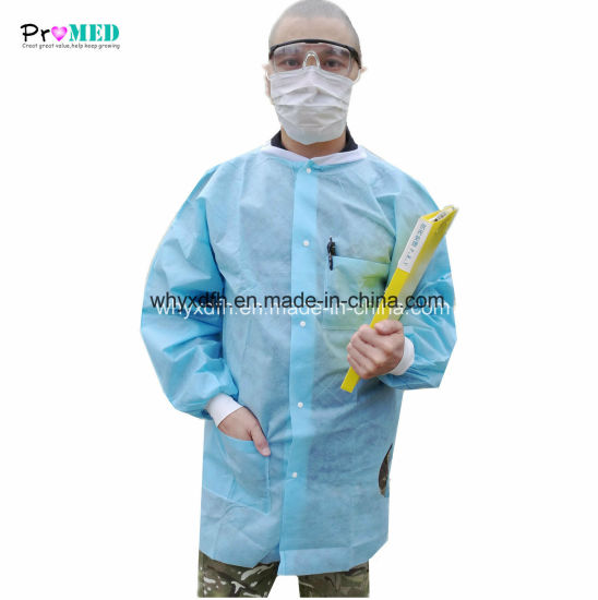 Up quality Knitted cuff and collar coat, Disposable nonwoven lab coat, SMS/PP lab coat, visitor coat with POCKET