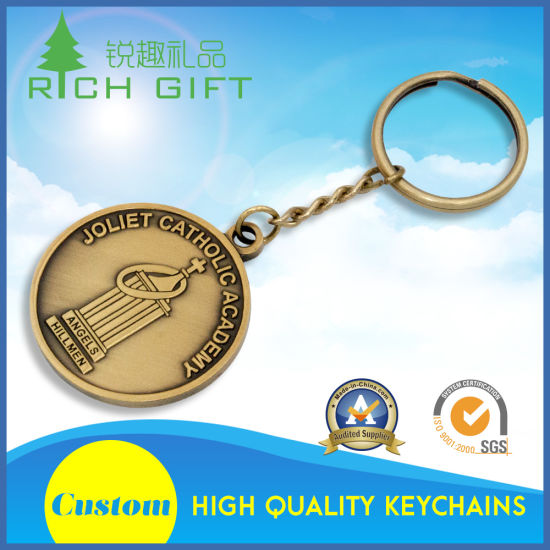 Made in China Custom Round Shape Metal Die Cut Silver Plated Diamond Logo Bitcoin Keychain