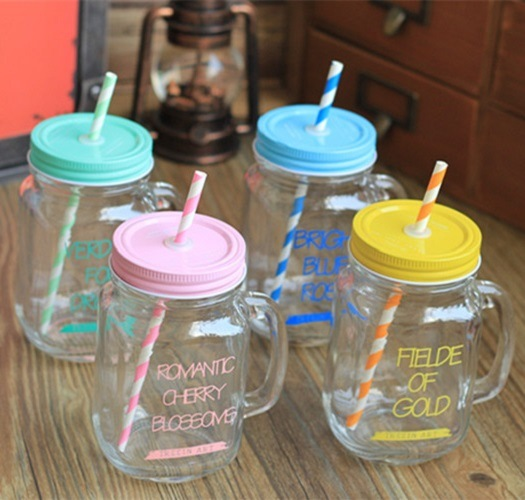 350ml Square Water Glass Bottle with Handle and Free Straw