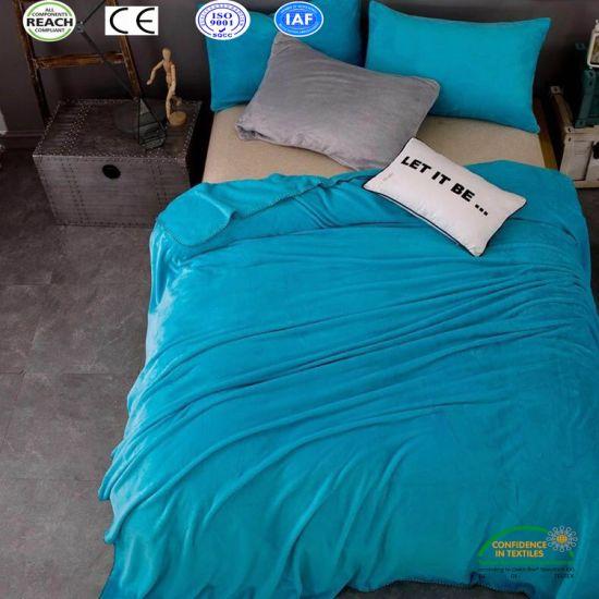 Pure Color Super Warm Soft Coral Fleece Bed Sheet Set