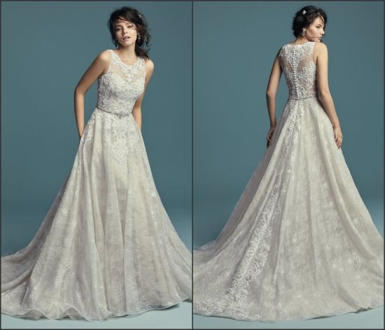China 2019 Lace Wedding Dress A-Line Sleeveless Bridal Wedding Gown ...