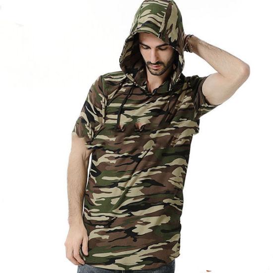 Custom Apparel Men's Clothing Camo Plain Tshirt Long Sleeve Blank Wholesale Extended Rounded Hem Longline T Shirt