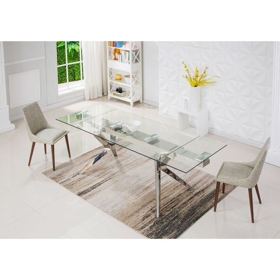 China Modern Rectangle Clear Glass Steel Dining Table Furniture China Steel Dining Table Dining Table