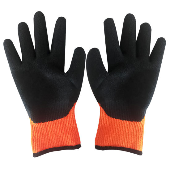 High Quality 7g Orange Nylon Liner Crinkle Latex Coated Labor Work Safety Glove with Wear and Slip Resistance