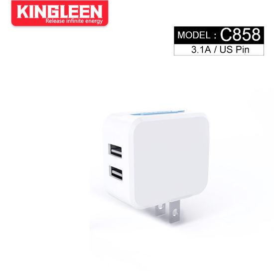 Model C858 Intelligent Dual USB Port Charger for Us Plug