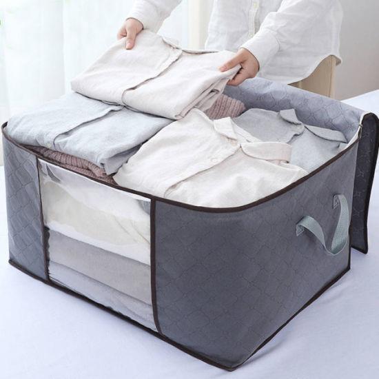 Cotton Fabric Quilt Clothes Blankets Shoe Travel Suit Dress Garment Cosmetic Storage Zipper Bag
