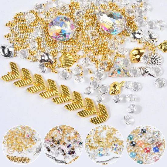 Mixed Nail Art Designs Alloy with Rhinestone Pearl Metal Cham