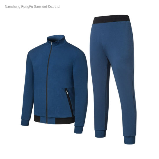 Pure Color Sportswear Casual Knit Men's Tracksuit