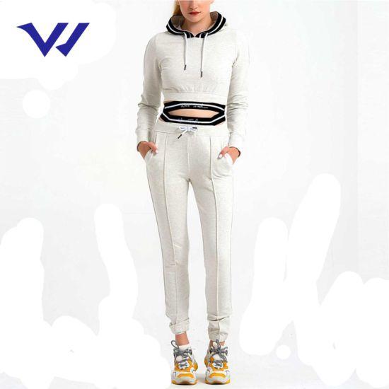 2020 High-Quality Long Sleeve Custom Embroidery Logo Sweatsuit Fleece Gym Women Tracksuit