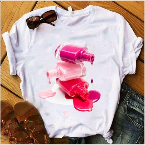Xqm Womens Clothing New Creative 3D Nail Polish Printed Clothes Series Women Shirt Tops T Shirt
