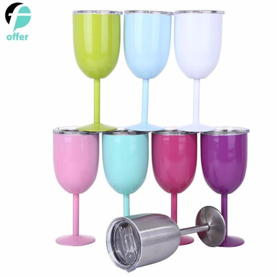 Wine Glasses 9 Colors 10oz 304 Stainless Steel Goblet Vacuum Double Layer Thermo Cup Drinkware Wine Glasses Red Wine Mugs pictures & photos