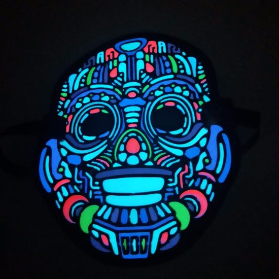 Cool Music Mask Glow Clown Mask LED Party Mask Sound Activated Mask  Halloween Festival Costumes Light up Mask