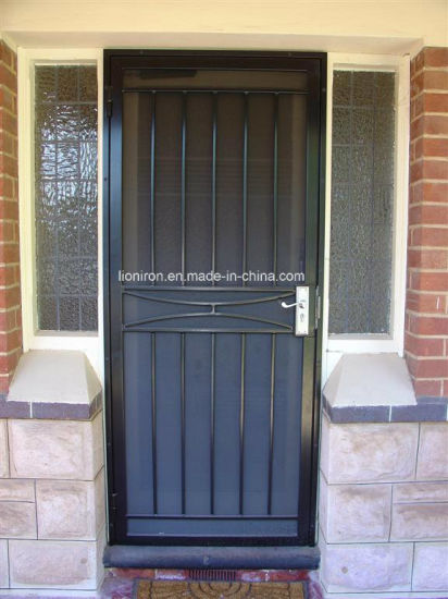Square Top Single Wrought Iron Security Doors With Screen