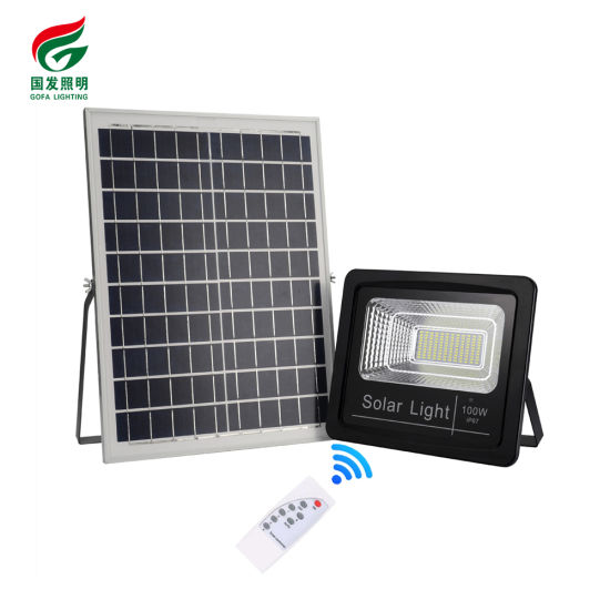 Waterproof IP67 Safe Outdoor Street Light Price 100W Rechargeable Remote Control Solar LED Flood Light