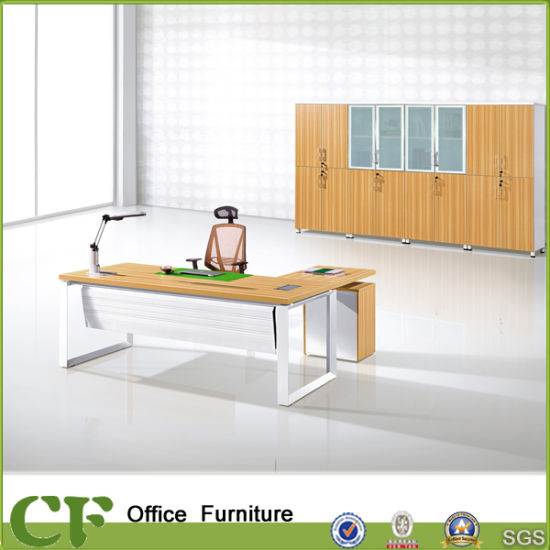 China Metal Frame L Shaped Computer Desk With 3 Drawer Pedestal