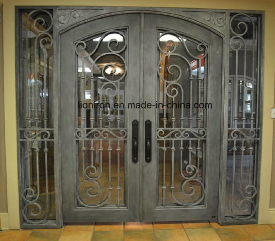 China Double Steel Security Wrought Iron Entry Doors With Sidelights