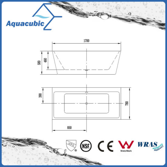 Bathroom Pure Acrylic Seamless Free Standing Bath Tub (AB6504) pictures & photos