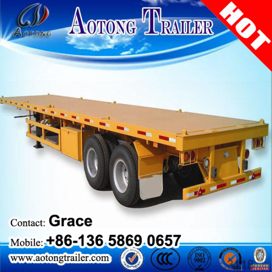 China Manufacturer 2 Axle or 3 Axles 20feet 40FT 45FT 53FT Flatbed Container Chassis Semi Trailer pictures & photos