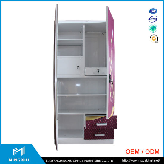 India Style 2 Door Bedroom Metal Wardrobe / Steel Armoire Wardrobe