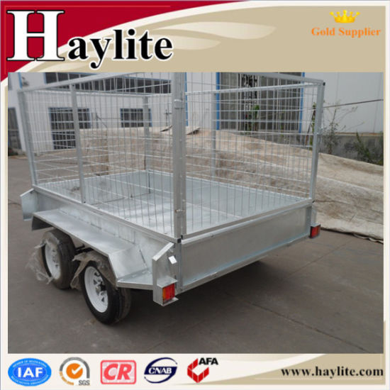 8X5 Tandem Axle Box Trailer with Cage pictures & photos