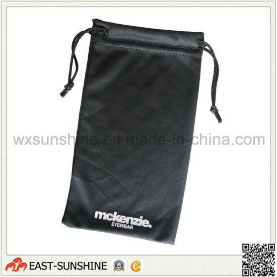 Black Two Side Drawstring Logo Printing Sunglasses Pouch (DH-MC0123)
