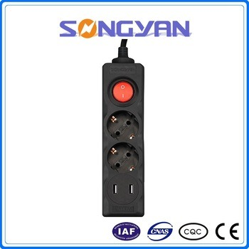 Surge and Overload Protection Wall Power Strip with Europe Style