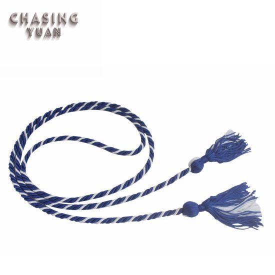 White/Blue 2-Color Twist Graduation Honor Cord