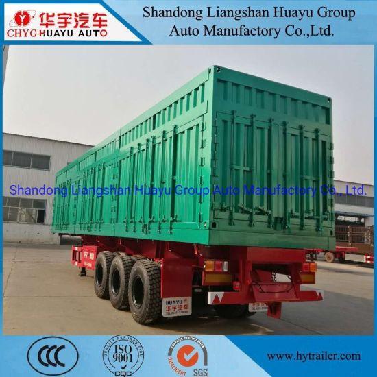 100 Ton Heavy Duty Box/Van Shape Side Dump/Tipping/Tipper Semi Truck Trailer for Sand/Stone/Coal Mineral Transport