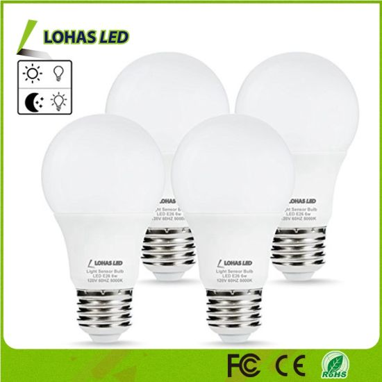 A19 6W Daylight 5000K E26 E27 B22 LED Sensor Bulb (Auto on/off) Smart Light Bulb pictures & photos