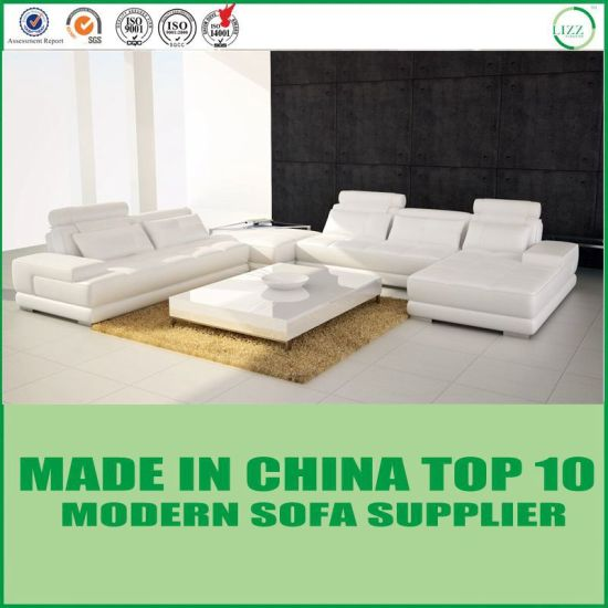 White New Design Modern Genuine Leather Sectional Sofa