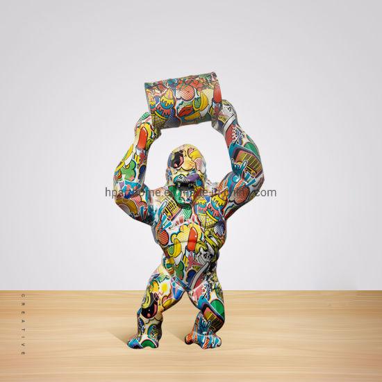 Classical Mountain Gorilla Statue Sculpture Water Transfer Printing