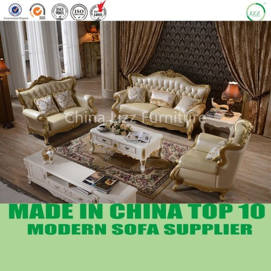 Luxury Opera Antique French Style Living Room Leather Sofa Furniture